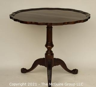 """Round Mahogany Pedestal Occasional Table with Pie Crust Top; 34"""" diameter x 30"""" T"""