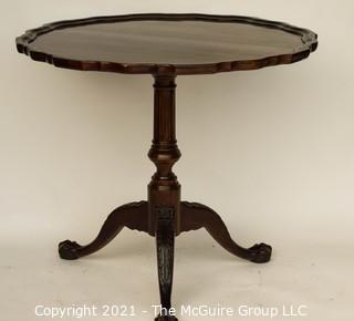 "Round Mahogany Pedestal Occasional Table with Pie Crust Top; 34"" diameter x 30"" T"