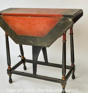 "Antique Octagonal Gateleg Occasional Table with Painted Top; 28""T x 30""W when open."