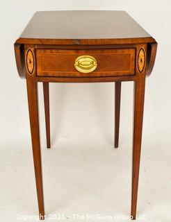 """Councill Furniture Sheraton Style Pembroke Mahogany with Satinwood Inlay Drop-Leaf Side Table; 25""""H and extends to 29""""W with leaves up."""
