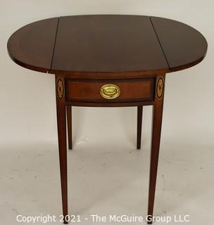 """Sheraton Style Pembroke Mahogany Drop Leaf Table with Satinwood Inlay, made by Councill;  25""""T and extends to 29""""W with leaves up."""