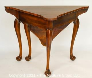 "Queen Anne Handkerchief Triangular Gate Leg Corner Table with Paw Feet.  Measures approximately 27""  tall and 28"" when open."