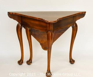"""Queen Anne Handkerchief Triangular Gate Leg Corner Table with Paw Feet.  Measures approximately 27""""  tall and 28"""" when open."""
