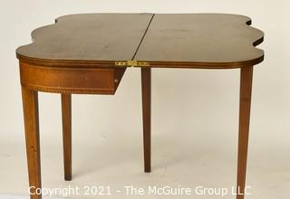 """Mahogany Flip Top Gateleg with Satinwood Inlay Game Table; 25"""" square with leaves up."""