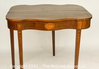 "Mahogany Flip Top Gateleg with Satinwood Inlay Game Table; 25"" square with leaves up."
