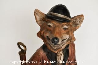 "Large Fox Figurine Statue on Set of Spiral Library Stairs; 33"" tall"