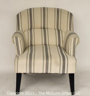 Blue and White Stripe Upholstered Wingback Chair