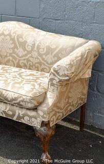 "Beige and White Damask Upholstered Sofa. Measures approximately 77"" wide"