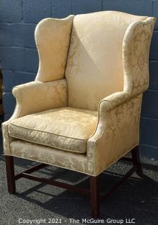 Yellow Damask Upholstered Wing Back Chair