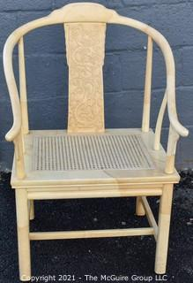 Henredon Asian Chinoiserie White Lacquer Cane Seat Dining Chair.
