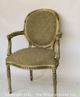 Adams Upholstered Arm Chair by Hickory Chair Furniture in Rustic Silver.