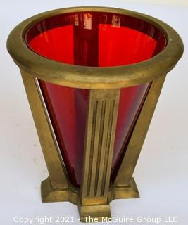 """Architectural Conical Form Heavy Bronze Floor Stand with Red Glass Insert; 12"""" wide at top rim x 13"""" tall"""