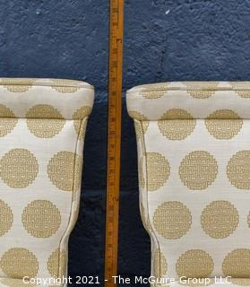 Set of 4  Dining Side Chairs, Upholstered in Asian Style Fabric.