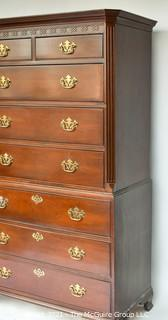 """Baker Mahogany Chippendale Style Chest on Chest Highboy with 8 Drawers;44""""W x 67""""T"""