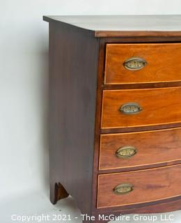 "Victorian Veneered Walnut Bow Front Chest Of Drawers with Brass Hardware; 38"" tall x  21"" deep x 41"" wide"