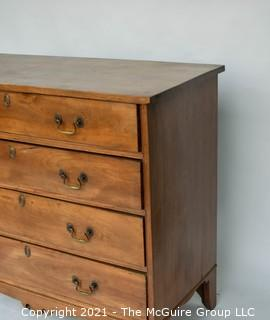 "Antique Georgian Style Walnut Four Drawer Chest of Drawers; 39""W x 35""T"