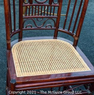 Chinoiserie Chippendale Style Rattan & Bamboo Dining Set with Glass Top Table and Four Cane Seat Chairs .