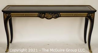 "Et Cetera Gilt & Black Lacquer Drexel Heritage Chinoiserie Style Console with Glass Top and Two Drawers; 54"" wide x 16"" Deep x 27"" Tall"