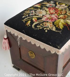 "Ottoman Chest with Hinged Needlepoint Lid; 17"" square."