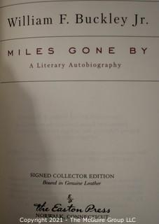 """Signed Leather Bound Collector's Edition by Easton Press """" Miles Gone By"""" A Literary Autobiography by William F. Buckley, Jr .Includes Certificate of Authenticity."""