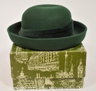 Green Wool Woman's Burberrys Hat in Harrods of London Box.