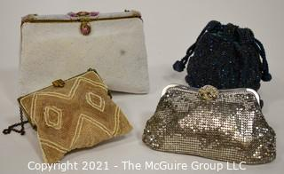Four Antique and Vintage Beaded Handbags.  Includes Whiting & Davis Clutch & Walborg Clutch with Mirror and Satin Coin Purse.