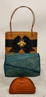 Three (3) Straw Handbags including Bosom Buddy and Bonwit Teller.