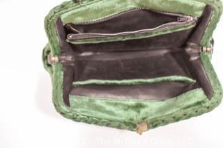 Vintage Green Cesare Piccini Cut Velvet Handbag , Made in Florence, Italy