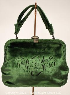 Vintage Green Cesare Piccini Cut Velvet Handbag , Made in Florence, Italy