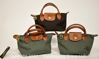Three Small Longchamp Le Pliage Foldable Small Tote Bag, One New with Tags.
