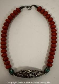 Vintage Tribal Hand Carved Red Stone Bead with Inlaid Carved, Silver Metal Beaded Necklace