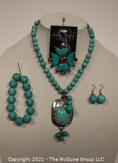 Set of Turquoise Costume Jewelry Including Teng Yue Signed Necklace, Brooch, Bracelet and Dangle Earrings.