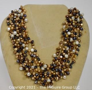 Multi Color Baroque Freshwater Pearl 6 Strand Necklace