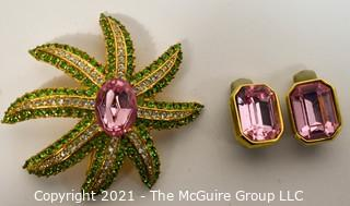 Cinar Pink, Green & Clear Rhinestone Flower Brooch with Matching Clip On Earrings.