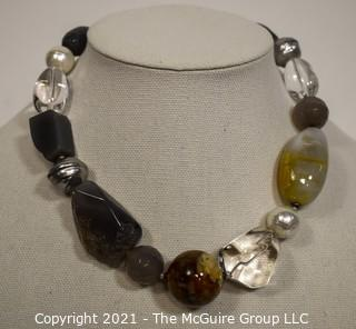 Philippe Ferrandis Paris Semiprecious Grey Agate Quartz Jumbo Bead Necklace
