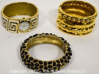 Three Costume Jewelry Bangle Bracelets and Watch.  Includes MMA CN & Kenneth Lane (some damage, black enamel beads missing).