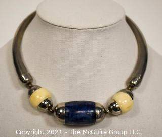 Vintage Tribal Lapis Stone & Bone Bead Necklace with Silver Metal