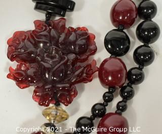 Asian Style Three Strand Lucite Beads with Scattered Pendants Necklace.