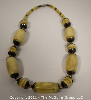 Vintage Tribal Hand Carved Bone Bead Necklace
