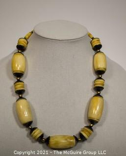 Vintage Tribal Hand Carved Bone Bead Necklace
