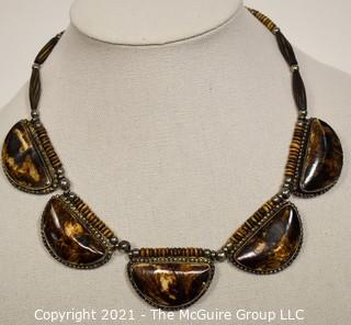 Vintage Tribal Stone or Bone Bead with Metal Bead Necklace