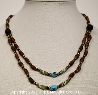 Vintage Tribal Hand Made Trade Beaded Necklace