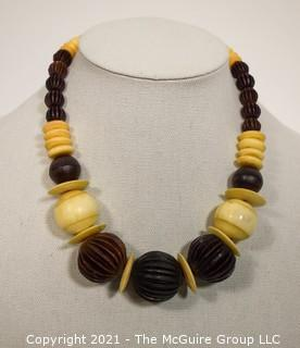 Vintage Tribal Hand Carved Wood and Bone Bead Necklace
