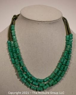 Three Strand Asian Green Bamboo Carved Green Stone Bead  on Silk Cords Necklace.