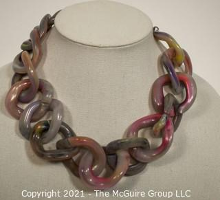 Huge Pono Joan Goodman Pink And Purple Ombre Lucite Statement Necklace