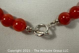 Red Carnelian Stone Knotted Bead Necklace with Toggle Clasp.