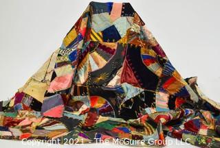 Vintage Unfinished Handmade Crazy Quilt