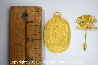 Gold Tone Egyptian Style Pendant and Pre Columbian Style Stick Pin from Metropolitan Museum of Art, MMA.