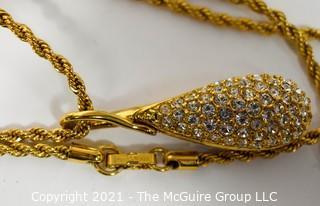 Swarovski Crystal Encrusted Tear Drop  Pendant on Gold Chain Necklace
