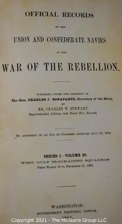 """2 Vol. Set: """"Nautical Records of the Union and Confederate Navies in the War of the Rebellion"""""""
